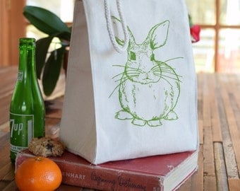 Lunch Bag - Screen Printed Recycled Cotton Lunch Bag - Reusable and Washable - Eco Friendly - Handmade - Lunch Box - Rabbit - Canvas Bag