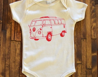 Baby One Piece - Organic Baby Onesie - Screen Printed Onesie - Baby Shirt - VW Bus - American Apparel Baby - Baby Bodysuit - Baby Clothes