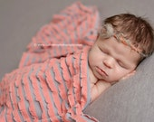 Gray Coral Ruffle Stretch Fabric Wrap Newborn Photography Prop Posing Swaddle