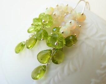 Green Peridot, Ethiopian Opal silver earrings. August Birthstone. Dangle earrings. Wire wrapped. Gemstone earrings.Birthstone earrings