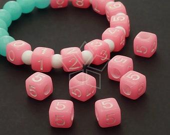 LR-068-PK / 10 Pcs - Numeric Luminous Beads, Phone Number Bead, Anniversary Date, Number Five, 5, PINK Square / 7mm