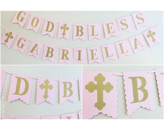 Pink and Gold Banner | Baptism | Communion | God Bless | gold glitter cross