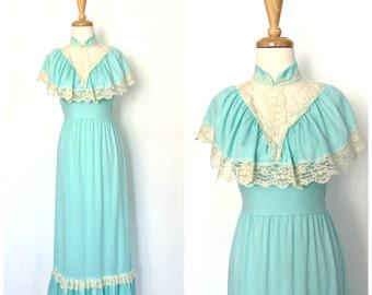 70s Dress - 1970s maxi -  blue maxi dress - ruffled dress - bridesmaid - alternative wedding - Small Medium