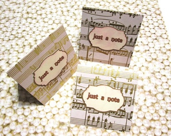 """DOLLAR SALE - Handmade Mini Notes - 3x3 gold foil musical notes - Set of 8 Mini Notecards """"Just a Note"""""""