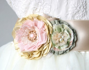 Bridal Belt with Fabric Flower in Light Pink, Yellow, and Mint, Pastel Wedding Sash, Floral Bridal Sash, Wedding Dress Flower
