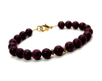Berry Breeze Men's Magnesite Bracelet – Men's Berry Red Beaded Bracelet – Men's Red Bracelet