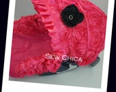 Hot Pink Satin 3D Roses/Hot Pink Minky Infant Baby Car Seat Cover/ Bling Flower~Ready To Ship