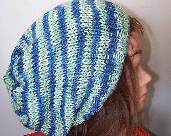 Slouchy Beanie Hand Knit Oversize Tam Blue Green Stripe XXL Beret Cloche Hat New OOAK New  Premade Ready to Ship!