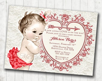 Vintage Baby Shower Invitation - Red and Cream Baby Shower Girl  Vintage Baby Shower Invitation For Girl - DIY Printable