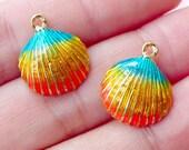 Colorful Sea Shell Enamel Charms (2pcs / 14mm x 17mm / Gradient Color) Beach Charm Bracelet Earrings Pendant Necklace Marine Life CHM1685