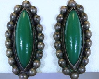 Mexico Sterling Silver Jade Earrings Pre Eagle Taxco Earrings