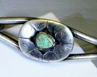 Turquoise Bracelet Sterling Silver Vintage Southwestern Cuff Bracelet