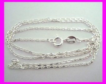 """16"""" 18""""  925 solid Sterling Silver 1.2mm diamond cut cable Chain Necklace"""