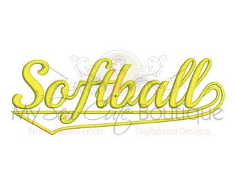 Softball Embroidery Applique Machine Design - 3 Sizes - Instant Download