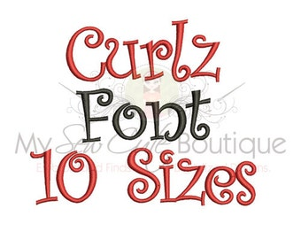 Curlz Font Machine Embroidery Designs - 10 sizes - 1/2/3/4/5 plus Half inch Sizes -  BX Font Included