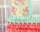 Coral Buttercup Baby Girl Bumperless Bedding Set in Yellow Coral and Mint - 3-Piece Set with Blanket, Sheet, and Ruffle Crib Skirt