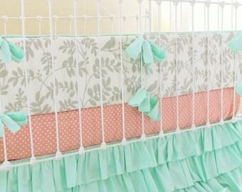 Mint and Gray Crib Bedding ,Baby Girl Nursery , Peach and Mint Baby Bedding, Ruffle Crib Skirt, Bird Nursery, Botanical Leafy Dreams Cribset