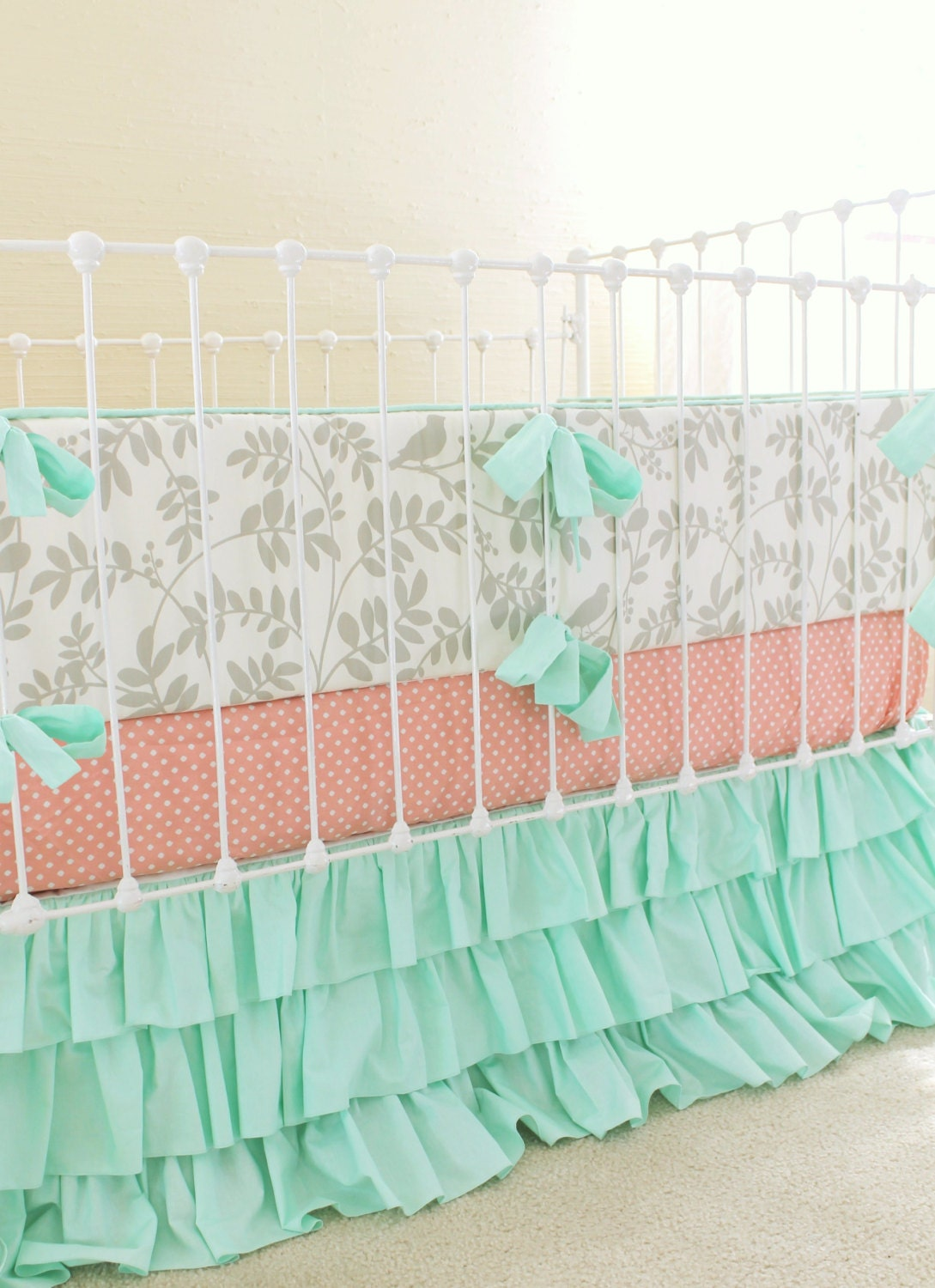 mint and gray crib bedding baby girl nursery peach and mint. Black Bedroom Furniture Sets. Home Design Ideas