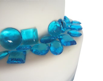 edible sugar gems blue set of 100