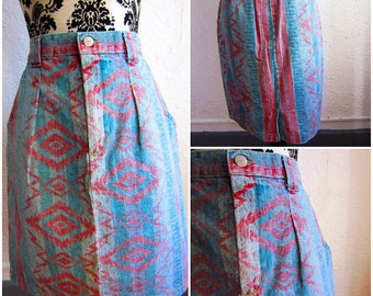 80s Tribal Jean Skirt Aztec Native Print Denim Multi-Color L