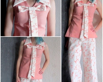 1960s Pink & White Floral Collared Tank with Matching Pants Set S