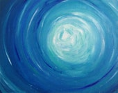 abstract painting in aqua, ultramarine, turquoise and blue-green, titled surfacing III, FREE SHIPPING in u.s.