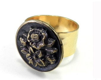 Victorian Ring, Victorian Button Ring , Antique Button, Blue Blossom, Button Jewelry, Gold Plated Ring