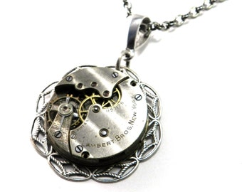 Steampunk Necklace - Silver Watch Pendant - Mechanical Swiss Lambert Watch Co. Movement - Larger Silver Industrial, Steampunk Jewelry