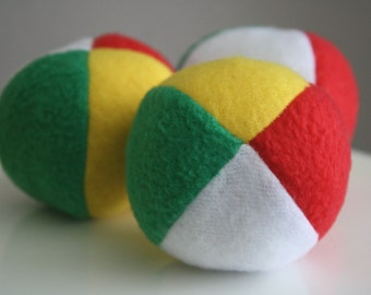 Green Red Yellow and White Fleece Squeaky Dog Ball toy small