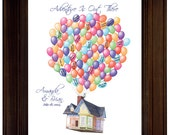 "Custom Wedding Guest book Ideas Disney Movie Up Themed Wedding Guest Book alternative Wedding Gift  Movie ""Up"" House Balloons Valentines"