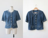 on SALE. 1990's Weill Paris Linen Denim Jacket M L Short Sleeve Blue Blouse Top Medium Large