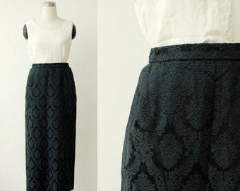 1970's Black Skirt Brocade Jacquard Long Skirt Large Evening Skirt L Formal Skirt High Waist