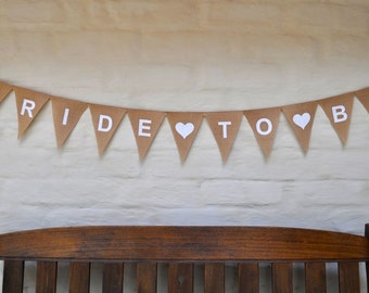 BRIDE TO BE Banner Hessian Burlap Wedding Celebration Party Bunting Rustic Decoration Bridal Shower Engagement Hens Party Rustic wedding