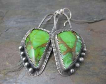 Statement Earrings Mohave Green Turquoise Sterling Silver Earrings