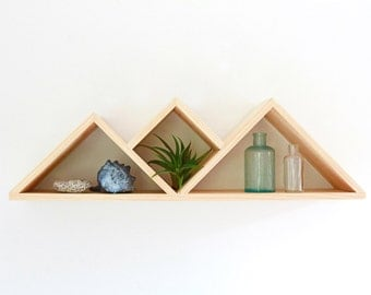 Summit Wall Shelf // Modern Shelving Unit // Handmade Wood Shelf, geometric, wall storage, office decor, jewelry display, mountain shelf