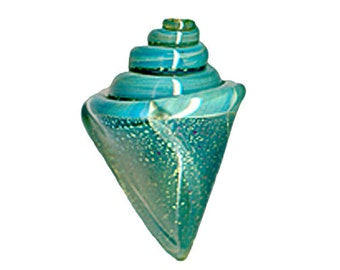 Lampwork Seashell Bead - Seafoam Mist