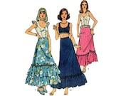 Vintage Simplicity 6382, Bohemian Top, Boho Skirt, Misses size 14, Boho Shirt, Bohemian Skirt, Sewing Pattern, 70's Fashion, 1974 Pattern