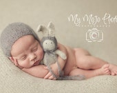 Newborn Baby Boy Photo Prop Bunny & Bonnets Set, Knit Gray Baby Mohair Bonnet, Handknit Stuffed Baby Toy, Newborn Baby Boy Photography Prop,