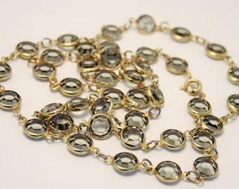 Vintage necklace. Open back crystal necklace. Grey gray crystal necklace.