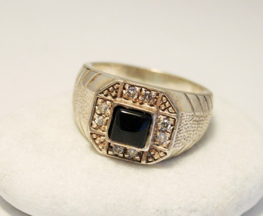 mens vintage ring silver ring black onyx by