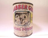 Vintage Baking Powder Tin Round Clabber Girl Baking Powder 4 inches Original Label 1930's Kitchen Collectible Kitchen Decor American Made