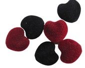 Velvet Heart Beads, 6 Large Red and Black Flocked, Puffed Beads with Large Holes for Jewelry, Crafts, Upcycling, Valentine's Day