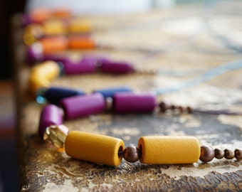 Summer Outdoors Summer Outdoors Colorful Wooden Beaded Necklace Long String Necklace Button Closure Crystal Wood Metal Beads many colors
