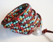 Leather Wrap Bracelet Turquoise and Red Bracelet Buffalo Bracelet