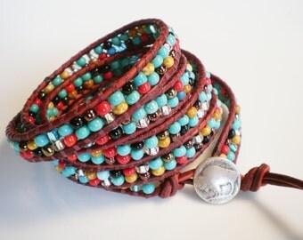 Leather Wrap Bracelet Turquoise and Red Bracelet Buffalo Bracelet