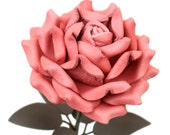 Coral Pink Leather Rose third Anniversary wedding gift Long Stem leather flower Valentine's Day 3rd Leather Anniversary Mother's Day