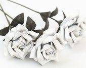 3 leather rose bouquet white third Anniversary wedding gift Long Stem leather Flower Valentine's Day 3rd Leather Anniversary Mother's Day