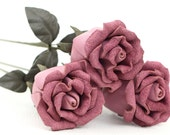 3 lilac pink leather rose bud bouquet third Anniversary wedding gift Long Stem leather Flower Valentine's 3rd Leather Anniversary