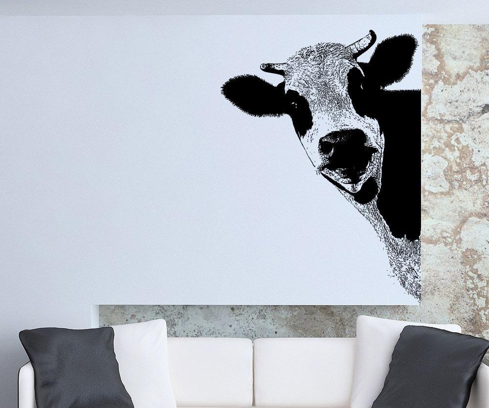 Vinyl Wall Art Decal Sticker Peeking Cow 5476s By Stickerbrand