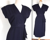 Vintage 1940's Dress // 40s Navy Blue Crepe Bombshell Wrap Dress // Kitty Foyle // DIVINE
